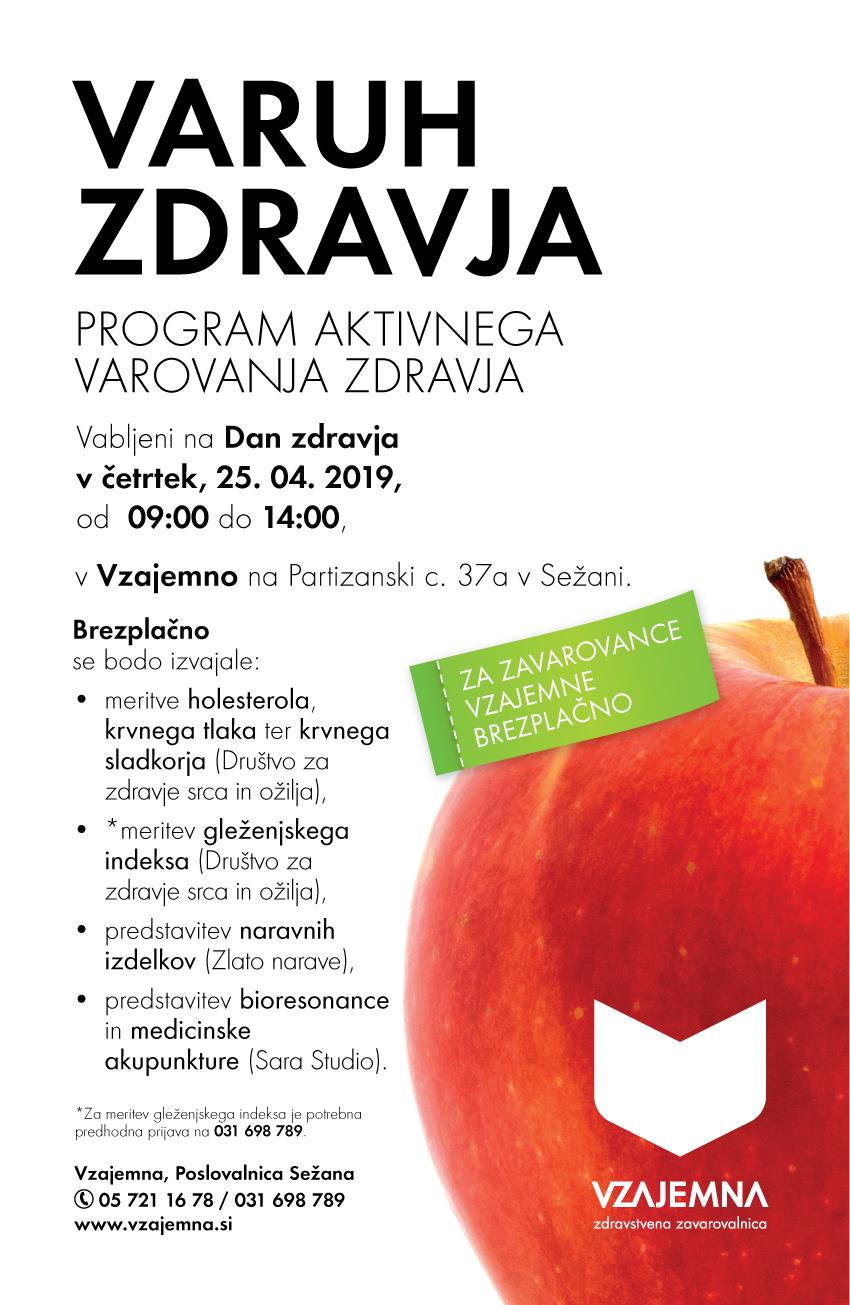 letak Vzajemna zavarovalnice za program varuh zdravja v Sežani in predstavitev Sara studio